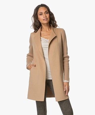 Repeat Long Open Cardigan with Cashmere - Camel
