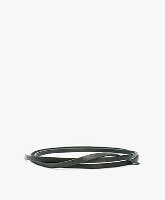 BY-BAR Leather Knot Belt - Dark Green