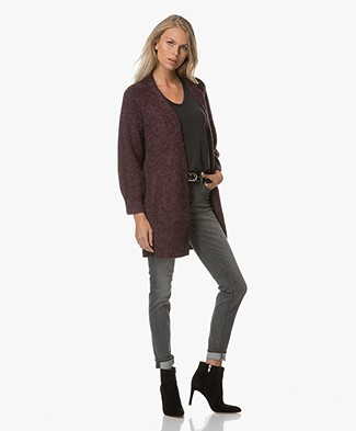 Ba&sh Medina Melange Open Cardigan - Bordeaux