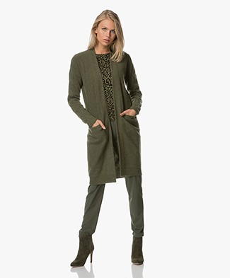 Josephine & Co Andries Long Open Cardigan - Army Green
