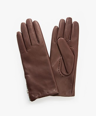 Filippa K Zip Leather Gloves - Bordeaux