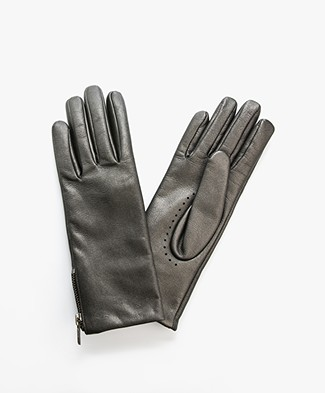 Filippa K Zip Leather Gloves - Gun Metal
