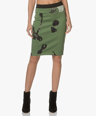 Kyra & Ko Silva Printed Pencil Skirt - Green