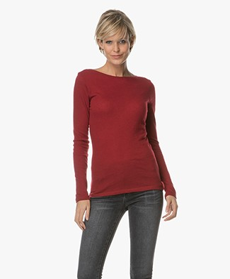 Majestic Boat Neck Long Sleeve in Pure Cashmere - Grenat