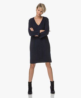 Majestic Wool Blend Dress with Cotton Inside - Dark Blue