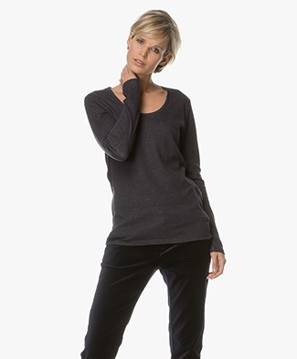 Majestic Soft Long Sleeve with Cashmere - Marine