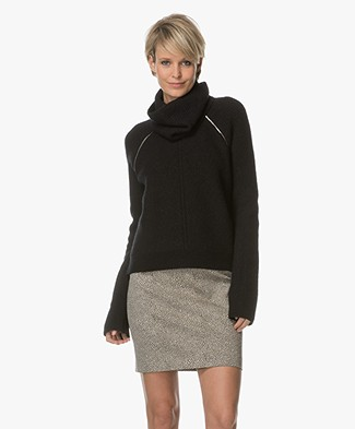 Sportmax Nebbie Pullover with Loose Turtleneck - Black