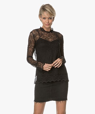 Theory Scalloped Lace Top - Black