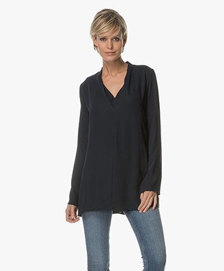 Woman by Earn Demi V-neck Blouse - Navy