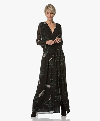 Ba&sh Reda Maxi-dress with Print - Black/Multicolored
