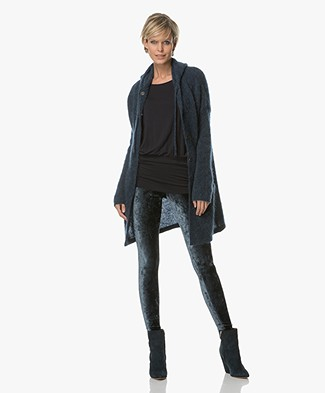 no man's land Thigh-long Hooded Cardigan - Seamoss