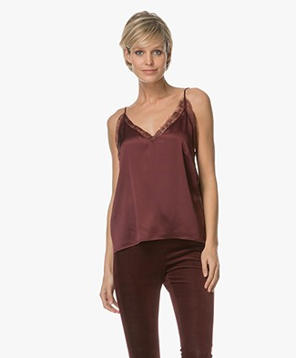 Anine Bing Deep V Lace Camisole - Burgundy