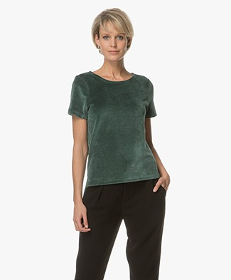 BY-BAR Amy Fluwelen T-shirt - Groen