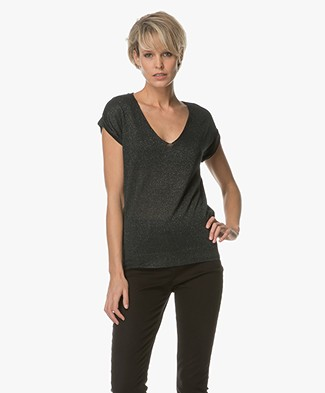 BY-BAR Shine Lurex T-shirt - Donkergroen