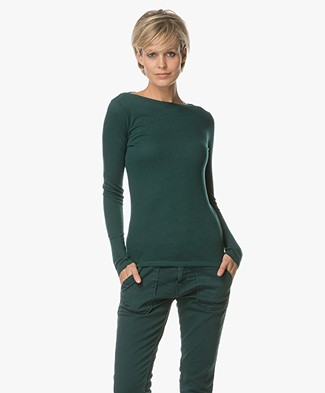 Majestic Boothals Longsleeve in Puur Cashmere - Vert Anglais