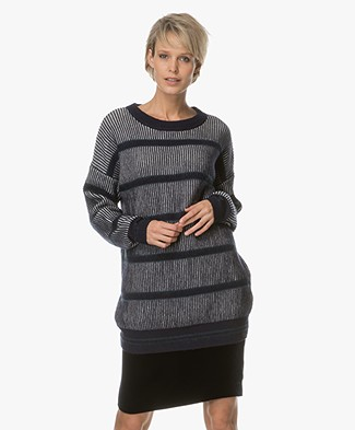Marie Sixtine Calvin Long Sweater with Cashmere - Blue