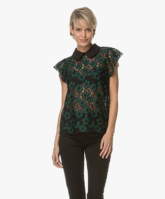 BY-BAR Limited Embroidery Kanten Blouse - Groen
