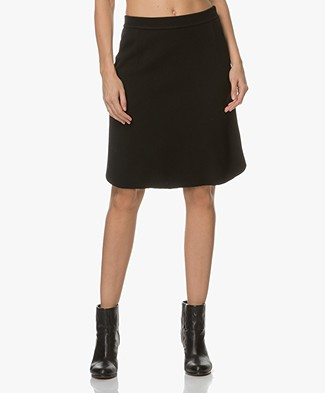 Majestic Double Jersey A-line Skirt - Black