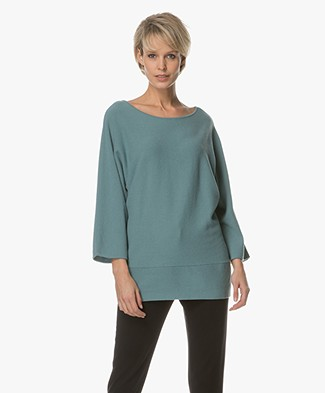 no man's land Wool and Cashmere Pullover - Lagoon