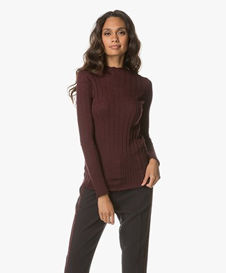 BY-BAR Ribbed Wool Blend Turtle Neck Sweater - Wine Red