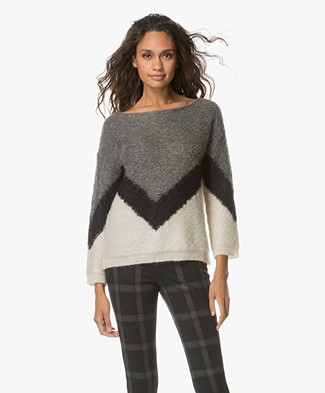 BY-BAR Venice Mohair Blend Pullover - Off-white/Grey