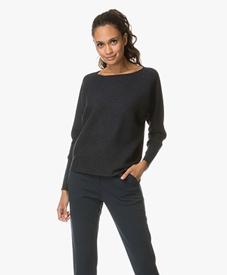 no man's land Wool Boat Neck Sweater - Deep Ink