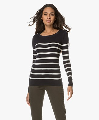 Breizh L'Elisa Striped Pullover with Silk - Navy/Ecru