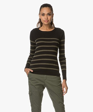 Breizh L'Elisa Striped Pullover with Silk - Army/Black