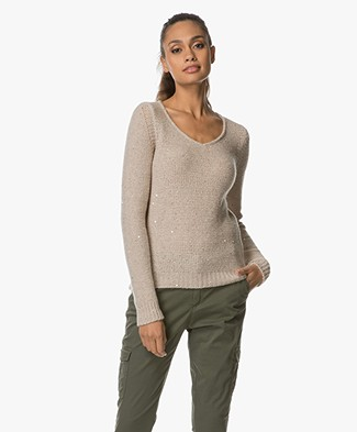 HUGO Shakila Knitted Sequin Sweater - Beige