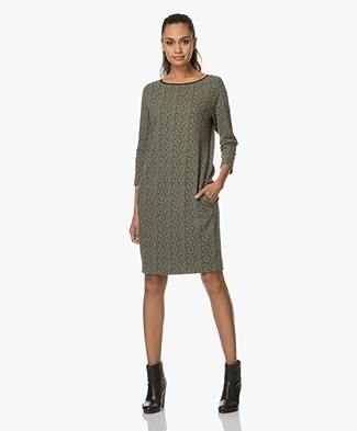 Kyra & Ko Bibi Loose-fit Jacquard Dress - Moss