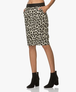 Kyra & Ko Coco Jersey Pencil Skirt with Leopard Print - Moss