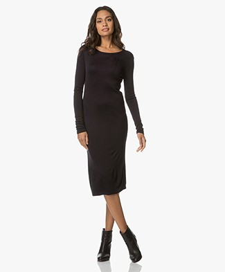 Majestic Filatures Jersey Dress with Cut-out - Marine