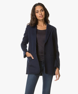Majestic Wool Blend Knitted Blazer - Navy