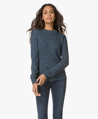 HUGO Sejena Viscose Blend Lurex Pullover - Blue