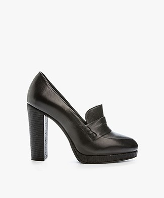Fred de la Bretonière Leren Loafer Pumps - Zwart