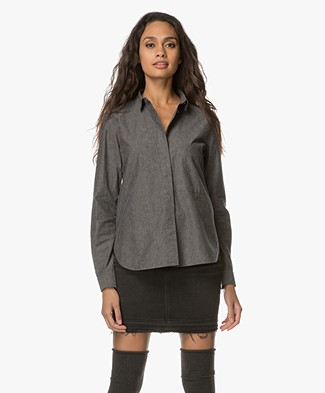 Closed Hailey Cotton Shirt - Dark Grey Melange