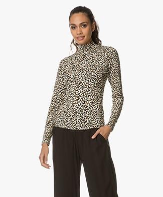 FWSS Stay Positive Shirt met Luipaardprint - Cadmium Geel/Beige