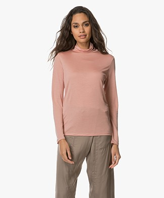 Filippa K Tencel Polo Neck Top - Rose