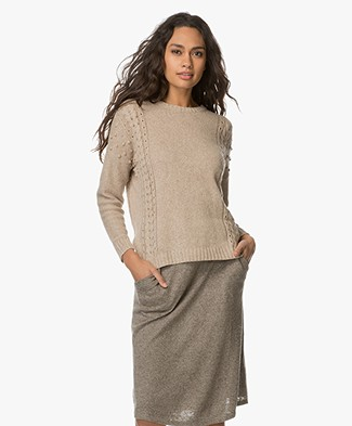 Indi & Cold Linen Blend Sweater - Hueso