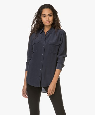 Equipment Signature Washed-silk Shirt - Dark Blue
