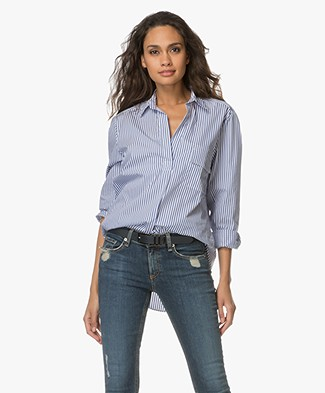 Filippa K Relaxed Stripe Shirt - White/Blue