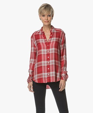 BOSS Orange Emai Checkered Viscose Blouse - Medium Red
