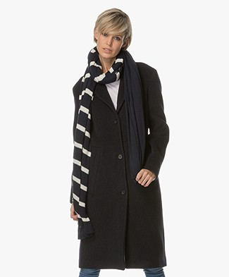 Breizh Le Chale Striped Bio-cotton Scarf - Navy