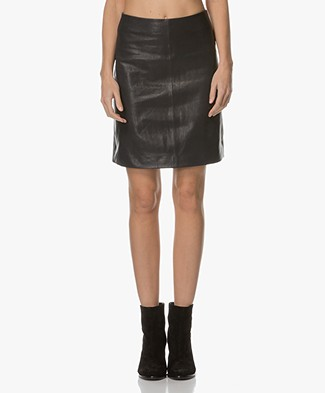 Closed Birte Leather A-line Skirt - Navy