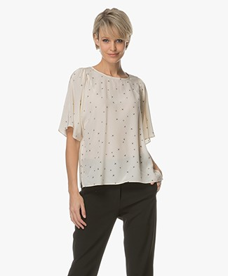 Closed Linnea Zijden Print Blouse - Light Champagne