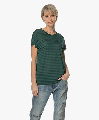 Denham Emmanuella Sheer Striped T-shirt - Antique Moss