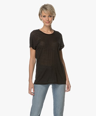 Denham Emmanuella Sheer Striped T-shirt - Shadow Black