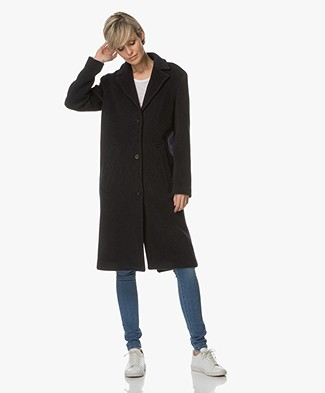 Denham Laurel Wool Coat with Cashmere - Dark Navy