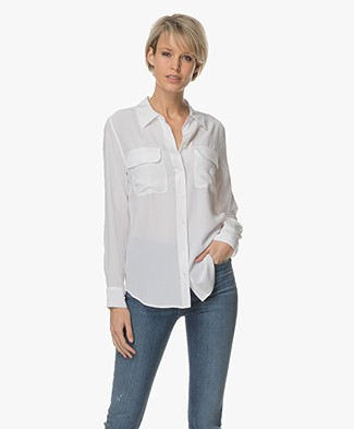 Equipment Slim Signature Washed-silk Shirt - Bright White