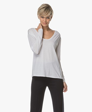 Filippa K Scoop Neck Long Sleeve - Wit